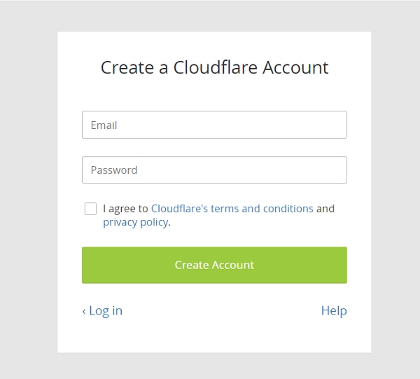 CloudFlare アカウント作成画面