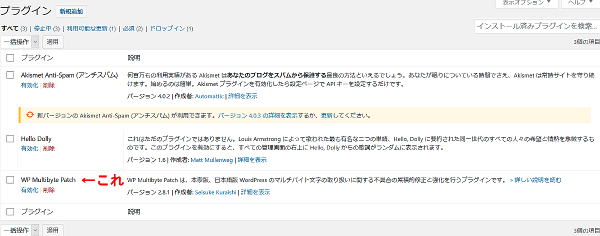 WP Multibyte Patchを有効化