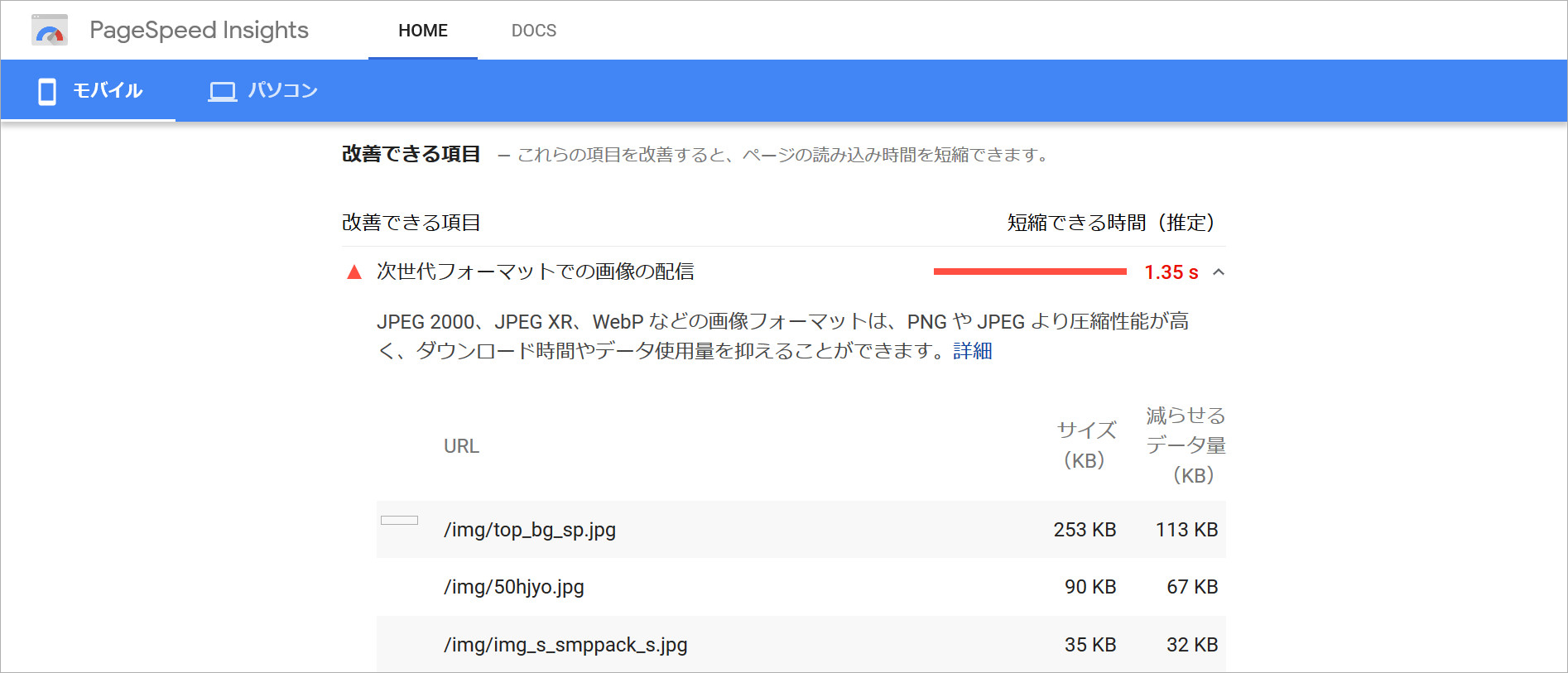 【WebP】PageSpeed Insightsでの測定結果